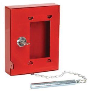 Noodsleutelkastje met hamertje - Rood